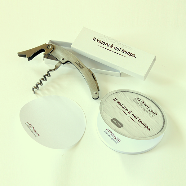 Branding with customized corkscrew and shaped sticky memopad