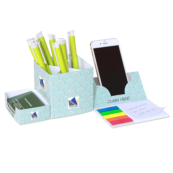 Desk organizer with pen holder, page markers flag and sticky notepad (mounted)