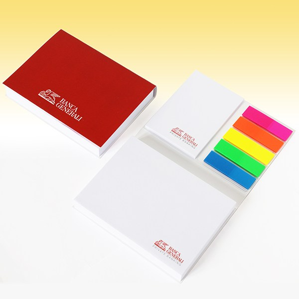 Promotional notepad with cover 102x75 mm with index bookmark flag