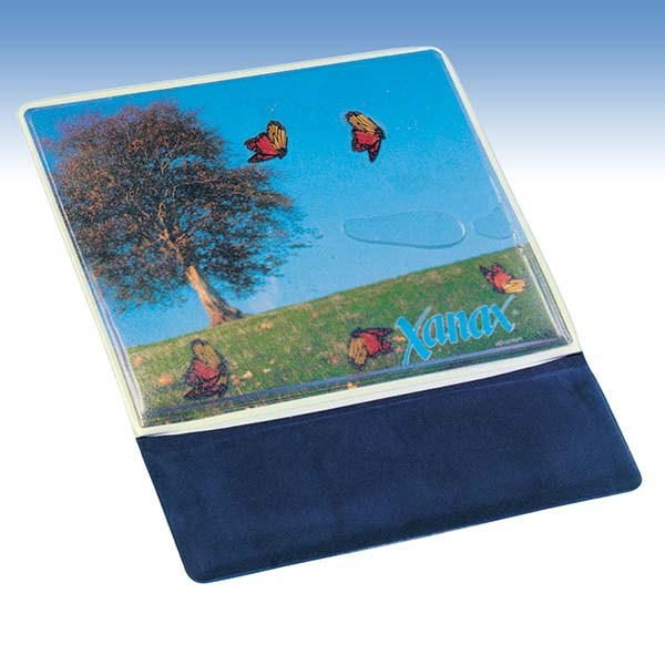 Mouse pad with wristrest with liquids, ergonomic customized
