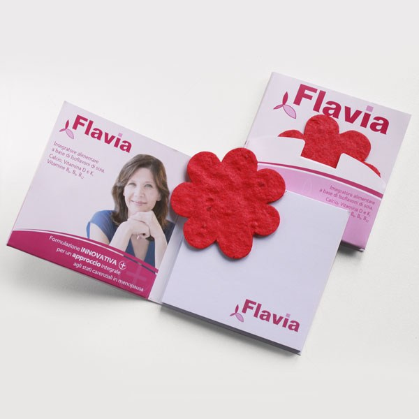 Paper with seeds with Flavia logo
