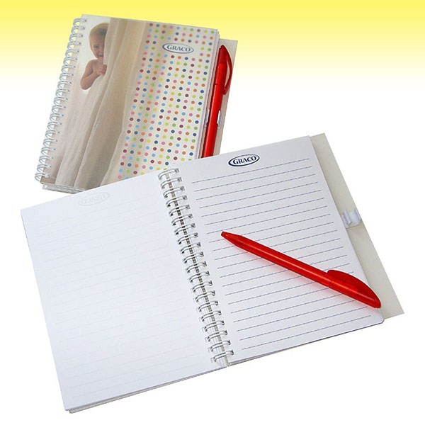 Wire-O Notebook  with ballpen and cardboard cover.