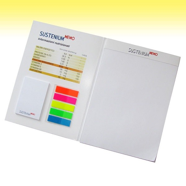 Bespoke Medical prescription notepad with cardboard cover, sticky notes and bookmarks flags