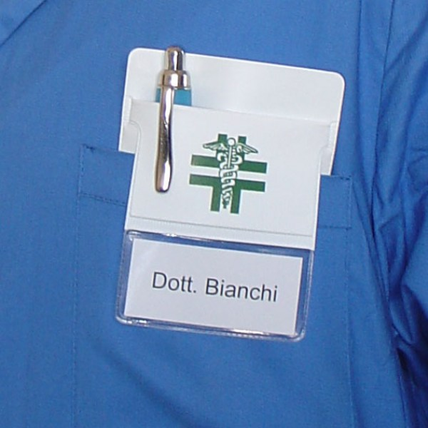 Branded white coat pocket protector