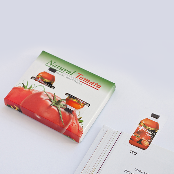 Index flag with bespoke case, product packaging copy. Tomato