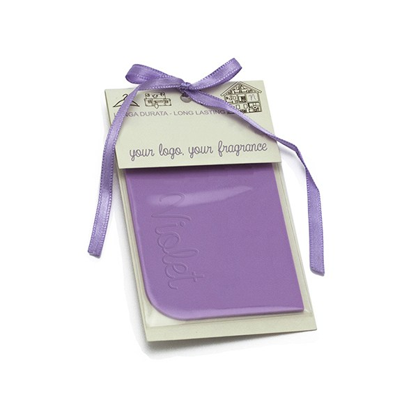 Bespoke rectangular scented rubber tag