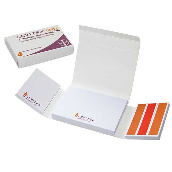 Memotack paper index with branded drug imitation packaging.