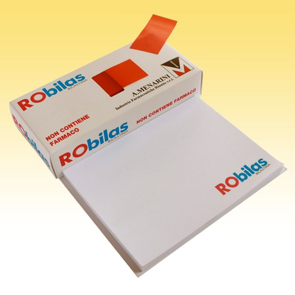 Memotack paper Index with branded drug imitation packaging. Sticky notepad